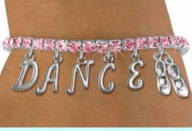 """<Br>              EXCLUSIVELY OURS!!<Br>        AN ALLAN ROBIN DESIGN!!<Br>             LEAD & NICKEL FREE!! <BR>        THIS IS A PERSONALIZED ITEM <Br>W19515B - ROSE CRYSTAL TAP SHOES <BR> """"DANCE"""" THEMED CHARM BRACELET  <BR>     FROM $9.56 TO $21.25  �2012"""