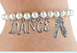 """<Br>              EXCLUSIVELY OURS!!<Br>        AN ALLAN ROBIN DESIGN!!<Br>             LEAD & NICKEL FREE!! <BR>        THIS IS A PERSONALIZED ITEM <Br>W19516B - 6MM WHITE PEARL """"DANCE"""" <BR> BALLET THEMED CHARM BRACELET  <BR>     FROM $8.44 TO $18.75  �2012"""