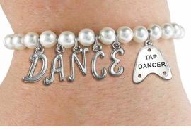 "<Br>              EXCLUSIVELY OURS!!<Br>        AN ALLAN ROBIN DESIGN!!<Br>             LEAD & NICKEL FREE!! <BR>        THIS IS A PERSONALIZED ITEM <Br>W19517B - 6MM WHITE PEARL ""DANCE"" <BR>""TAP DANCER"" THEMED CHARM BRACELET  <BR>     FROM $8.44 TO $18.75  �2012"