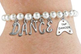 """<Br>              EXCLUSIVELY OURS!!<Br>        AN ALLAN ROBIN DESIGN!!<Br>             LEAD & NICKEL FREE!! <BR>        THIS IS A PERSONALIZED ITEM <Br>W19517B - 6MM WHITE PEARL """"DANCE"""" <BR>""""TAP DANCER"""" THEMED CHARM BRACELET  <BR>     FROM $8.44 TO $18.75  �2012"""