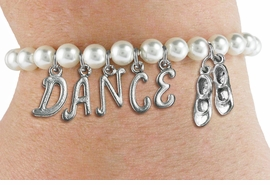 "<Br>              EXCLUSIVELY OURS!!<Br>        AN ALLAN ROBIN DESIGN!!<Br>             LEAD & NICKEL FREE!! <BR>        THIS IS A PERSONALIZED ITEM <Br>W19518B - 6MM WHITE PEARL ""DANCE"" <BR> TAP SHOES THEMED CHARM BRACELET  <BR>     FROM $8.44 TO $18.75  �2012"