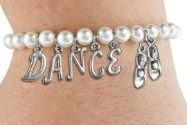 """<Br>              EXCLUSIVELY OURS!!<Br>        AN ALLAN ROBIN DESIGN!!<Br>             LEAD & NICKEL FREE!! <BR>        THIS IS A PERSONALIZED ITEM <Br>W19518B - 6MM WHITE PEARL """"DANCE"""" <BR> TAP SHOES THEMED CHARM BRACELET  <BR>     FROM $8.44 TO $18.75  �2012"""