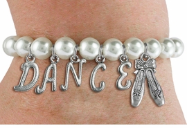 "<Br>              EXCLUSIVELY OURS!!<Br>        AN ALLAN ROBIN DESIGN!!<Br>             LEAD & NICKEL FREE!! <BR>        THIS IS A PERSONALIZED ITEM <Br>W19519B - 8MM WHITE PEARL ""DANCE"" <BR> BALLET THEMED CHARM BRACELET  <BR>     FROM $9.00 TO $20.00  �2012"