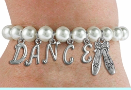 """<Br>              EXCLUSIVELY OURS!!<Br>        AN ALLAN ROBIN DESIGN!!<Br>             LEAD & NICKEL FREE!! <BR>        THIS IS A PERSONALIZED ITEM <Br>W19519B - 8MM WHITE PEARL """"DANCE"""" <BR> BALLET THEMED CHARM BRACELET  <BR>     FROM $9.00 TO $20.00  �2012"""