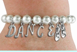 """<Br>              EXCLUSIVELY OURS!!<Br>        AN ALLAN ROBIN DESIGN!!<Br>             LEAD & NICKEL FREE!! <BR>        THIS IS A PERSONALIZED ITEM <Br>W19521B - 8MM WHITE PEARL """"DANCE"""" <BR>TAP SHOES THEMED CHARM BRACELET  <BR>     FROM $9.00 TO $20.00  �2012"""