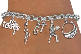 <Br>              EXCLUSIVELY OURS!!<Br>        AN ALLAN ROBIN DESIGN!!<Br>             LEAD & NICKEL FREE!! <BR>THIS IS A PERSONALIZED ITEM <Br>W19547B - SILVER TONE TENNIS <BR>     THEMED SIX CHARM BRACELET <BR>    WITH PERSONALIZED INITIALS <BR>     FROM $8.44 TO $18.75  �2012