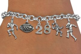 <Br>              EXCLUSIVELY OURS!!<Br>        AN ALLAN ROBIN DESIGN!!<Br>             LEAD & NICKEL FREE!! <BR>        THIS IS A PERSONALIZED ITEM <Br>W19552B - SILVER TONE FOOTBALL <BR>     THEMED FIVE CHARM BRACELET <BR> WITH PERSONALIZED TEAM NUMBER <BR>     FROM $8.44 TO $18.75  �2012
