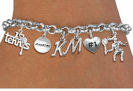 <Br>              EXCLUSIVELY OURS!!<Br>        AN ALLAN ROBIN DESIGN!!<Br>             LEAD & NICKEL FREE!! <BR>THIS IS A PERSONALIZED ITEM <Br>W19561B - SILVER TONE TENNIS <BR>     THEMED SIX CHARM BRACELET <BR>    WITH PERSONALIZED INITIALS <BR>     FROM $8.44 TO $18.75  �2012