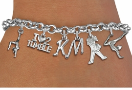 <Br>            PERSONALIZED TUMBLE BRACELET-ADJUSTABLE<Br>      <Br>                          LEAD, CADMIUM, & NICKEL FREE!! <BR>                              THIS IS A PERSONALIZED ITEM <Br>                    W19596B2 - SILVER TONE GYMNASTICS <BR>                             THEMED SIX CHARM BRACELET <BR>                             WITH PERSONALIZED INITIALS <BR>                  $14.38 EACH  �2012
