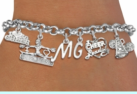 <Br>              EXCLUSIVELY OURS!!<Br>        AN ALLAN ROBIN DESIGN!!<Br>             LEAD & NICKEL FREE!! <BR>THIS IS A PERSONALIZED ITEM <Br>W19745B2 - SILVER TONE CHEER <BR>     THEMED SIX CHARM BRACELET <BR>    WITH PERSONALIZED INITIALS <BR>                 $12.38 EACH  �2012
