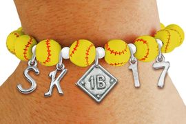 <Br>                  EXCLUSIVELY OURS!!<Br>            AN ALLAN ROBIN DESIGN!!<Br>                 LEAD & NICKEL FREE!! <BR>       THIS IS A PERSONALIZED ITEM <Br>W19763B - YELLOW STRETCH SOFTBALL <BR>THEMED CHARM BRACELET WITH YOUR <BR>POSITION, TEAM NUMBER AND INITIALS <BR>        FROM $9.56 TO $21.25 �2012