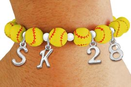 <Br>                  EXCLUSIVELY OURS!!<Br>            AN ALLAN ROBIN DESIGN!!<Br>                 LEAD & NICKEL FREE!! <BR>       THIS IS A PERSONALIZED ITEM <Br>W19764B - YELLOW STRETCH SOFTBALL <BR>THEMED CHARM BRACELET WITH YOUR <BR>VERY OWN INITIALS AND TEAM NUMBER <BR>        FROM $8.10 TO $18.00 �2012