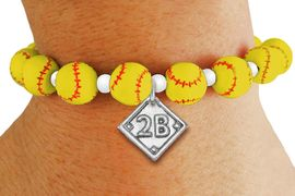 <Br>                  EXCLUSIVELY OURS!!<Br>            AN ALLAN ROBIN DESIGN!!<Br>                 LEAD & NICKEL FREE!! <BR>       THIS IS A PERSONALIZED ITEM <Br>W19765B - YELLOW STRETCH SOFTBALL <BR>THEMED CHARM BRACELET WITH YOUR <BR>   TEAM POSITION ON BALL DIAMOND <BR>        FROM $6.19 TO $13.75 �2012