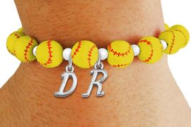 <Br>                  EXCLUSIVELY OURS!!<Br>            AN ALLAN ROBIN DESIGN!!<Br>                 LEAD & NICKEL FREE!! <BR>       THIS IS A PERSONALIZED ITEM <Br>W19766B - YELLOW STRETCH SOFTBALL <BR>THEMED CHARM BRACELET WITH YOUR <BR> OWN PERSONALIZED INITIALS ADDED <BR>        FROM $6.41 TO $14.25 �2012