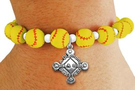 """<Br>                  EXCLUSIVELY OURS!!<Br>            AN ALLAN ROBIN DESIGN!!<Br>                 LEAD & NICKEL FREE!! <BR>       THIS IS A PERSONALIZED ITEM <Br>W19768B - YELLOW STRETCH SOFTBALL <BR>   THEMED CHARM BRACELET WITH <BR>""""A DIAMOND IS A GIRLS BEST FRIEND"""" <BR>   CHARM FROM $6.19 TO $13.75 �2012"""