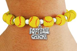 """<Br>                  EXCLUSIVELY OURS!!<Br>            AN ALLAN ROBIN DESIGN!!<Br>        LEAD, CADIUM, & NICKEL FREE!! <BR>       THIS IS A PERSONALIZED ITEM <Br>W19769B - YELLOW STRETCH SOFTBALL <BR>   THEMED CHARM BRACELET WITH A<BR>""""SOFTBALL CHICK!"""" SILVER TONE CHARM <BR>      FROM $6.19 TO $13.75 �2012"""