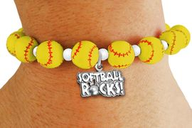 """<Br>                  EXCLUSIVELY OURS!!<Br>            AN ALLAN ROBIN DESIGN!!<Br>   LEAD, CADMIUM, & NICKEL FREE!! <BR>       THIS IS A PERSONALIZED ITEM <Br>W19770B - YELLOW STRETCH SOFTBALL <BR>   THEMED CHARM BRACELET WITH A<BR> """"SOFTBALL ROCKS!"""" SILVER TONE CHARM <BR>      FROM $6.19 TO $13.75 �2012"""