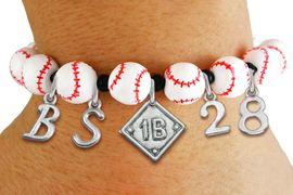 <Br>                  EXCLUSIVELY OURS!!<Br>            AN ALLAN ROBIN DESIGN!!<Br>                 LEAD & NICKEL FREE!! <BR>       THIS IS A PERSONALIZED ITEM <Br>W19774B - WHITE STRETCH BASEBALL <BR>THEMED CHARM BRACELET WITH YOUR <BR>POSITION, TEAM NUMBER AND INITIALS <BR>        FROM $9.56 TO $21.56 �2012