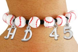 <Br>                  EXCLUSIVELY OURS!!<Br>            AN ALLAN ROBIN DESIGN!!<Br>                 LEAD & NICKEL FREE!! <BR>       THIS IS A PERSONALIZED ITEM <Br>W19775B - WHITE STRETCH BASEBALL <BR>THEMED CHARM BRACELET WITH YOUR <BR>VERY OWN INITIALS AND TEAM NUMBER <BR>        FROM $8.10 TO $18.00 �2012