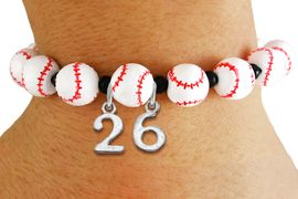 <Br>                  EXCLUSIVELY OURS!!<Br>            AN ALLAN ROBIN DESIGN!!<Br>                 LEAD & NICKEL FREE!! <BR>       THIS IS A PERSONALIZED ITEM <Br>W19777B - WHITE STRETCH BASEBALL <BR>THEMED CHARM BRACELET WITH YOUR <BR>   PERSONAL TEAM NUMBER ADDED <BR>        FROM $6.41 TO $14.25 �2012