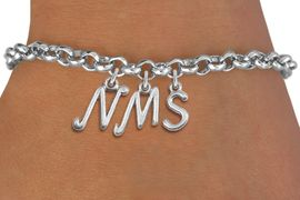 <Br>                    EXCLUSIVELY OURS!!<Br>              AN ALLAN ROBIN DESIGN!!<Br>                   LEAD & NICKEL FREE!! <BR>         THIS IS A PERSONALIZED ITEM <Br>  W20087B - SILVER TONE LOBSTER CLASP <BR>     CUSTOM CHARM BRACELET WITH YOUR <BR>PERSONAL MIDDLE SCHOOL INITIALS <BR>          FROM $4.50 TO $10.00 �2013