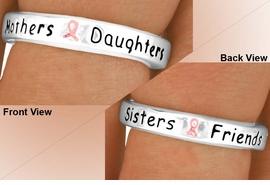 "<Br>                   EXCLUSIVELY OURS!!!<Br>                AN ALLAN ROBIN DESIGN<BR>                   LEAD & NICKEL FREE!!<Br>W11901R - ""MOTHERS - DAUGHTERS...""<br>   PINK AWARENESS RIBBON STRETCH<br>             RING FROM $1.90 TO $5.00"