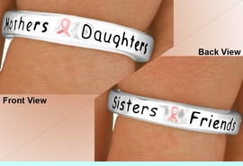 """<Br>                   EXCLUSIVELY OURS!!!<Br>                AN ALLAN ROBIN DESIGN<BR>                   LEAD & NICKEL FREE!!<Br>W11901R - """"MOTHERS - DAUGHTERS...""""<br>   PINK AWARENESS RIBBON STRETCH<br>             RING FROM $1.90 TO $5.00"""