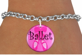 "<bR>            EXCLUSIVELY OURS!! <BR>      AN ALLAN ROBIN DESIGN!! <BR>         LEAD & NICKEL FREE!! <BR> W1228SB - PINK ""BALLET"" SHOES <br>         DISK CHARM BRACELET <br>       AS LOW AS $4.15"