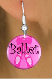 "<bR>         EXCLUSIVELY OURS!!<BR>   AN ALLAN ROBIN DESIGN!!<BR>      LEAD & NICKEL FREE!! <BR> W1228SE - PINK ""BALLET"" SHOES <BR>        DISK CHARM EARRINGS <br>       AS LOW AS $3.25"