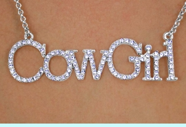 """<bR>             EXCLUSIVELY OURS!!!<Br>         AN ALLAN ROBIN DESIGN!<Br>          LEAD & NICKEL FREE!!<Br>   W13163N - AUSTRIAN CRYSTAL<br>             LARGE 3"""" INCH WIDE<BR>""""COWGIRL"""" MARQUEE NECKLACE $9.50 Each  &#169;2009"""