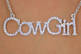 "<bR>             EXCLUSIVELY OURS!!!<Br>         AN ALLAN ROBIN DESIGN!<Br>          LEAD & NICKEL FREE!!<Br>   W13163N - AUSTRIAN CRYSTAL<br>             LARGE 3"" INCH WIDE<BR>""COWGIRL"" MARQUEE NECKLACE<BR>            FROM $12.50 TO $18.50<BR>                               &#169;2009"