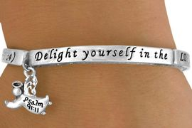 "<Br>              EXCLUSIVELY OURS!!<BR>         AN ALLAN ROBIN DESIGN!<BR>             LEAD & NICKEL FREE!!<Br>W13317B - ""DELIGHT IN THE LORD""<Br>         STRETCH BRACELET FROM<Br>                  $5.90 TO $10.00<BR>                          �2008"