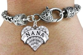 """<bR>                   EXCLUSIVELY OURS!!<BR>             AN ALLAN ROBIN DESIGN!!<BR>                 LEAD & NICKEL FREE!!<BR>W1345SB - AUSTRIAN CRYSTAL """"NANA"""" <BR>HEART CHARM & HEART CLASP BRACELET <BR>         FROM $5.63 TO $12.50 �2012"""