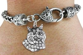 <bR>                   EXCLUSIVELY OURS!!<BR>             AN ALLAN ROBIN DESIGN!!<BR>                 LEAD & NICKEL FREE!!<BR>W1352SAK - DETAILED BOBCAT WITH <BR> CLEAR CRYSTALS CHARM  <BR>    ON HEART LOBSTER CLASP BRACELET <Br>         FROM $5.63 TO $12.50 �2012