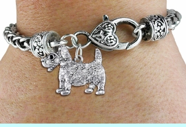 <bR>                   EXCLUSIVELY OURS!!<BR>             AN ALLAN ROBIN DESIGN!!<BR>                 LEAD & NICKEL FREE!!<BR>W1359SB - DETAILED TERRIER <BR> WITH CLEAR CRYSTALS CHARM  <BR>    ON HEART LOBSTER CLASP BRACELET <Br>         FROM $5.63 TO $12.50 �2012