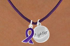 """<BR>              """"EXCLUSIVELY OURS""""<bR>          AN ALLAN ROBIN DESIGN<Br>             LEAD & NICKEL FREE!!<Br> W13640N - PURPLE AWARENESS<Br>RIBBON & """"FIGHTER"""" CIRCLE ON A<Br>         PURPLE SUEDE NECKLACE<Br>                  AS LOW AS $4.15"""