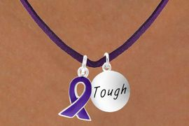 """<BR>              """"EXCLUSIVELY OURS""""<bR>          AN ALLAN ROBIN DESIGN<Br>            LEAD & NICKEL FREE!!<Br>W13642N - PURPLE AWARENESS<Br>RIBBON & """"TOUGH"""" CIRCLE ON A<Br>        PURPLE SUEDE NECKLACE<Br>                 AS LOW AS $4.15"""
