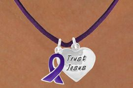 """<BR>              """"EXCLUSIVELY OURS""""<bR>          AN ALLAN ROBIN DESIGN<Br>             LEAD & NICKEL FREE!!<Br> W13647N - PURPLE AWARENESS<Br>RIBBON & """"TRUST JESUS"""" HEART<Br>  ON A PURPLE SUEDE NECKLACE<Br>                  AS LOW AS $4.15"""
