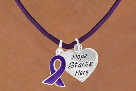 """<BR>            """"EXCLUSIVELY OURS""""<bR>        AN ALLAN ROBIN DESIGN<Br>           LEAD & NICKEL FREE!!<Br>W13651N - PURPLE AWARENESS<Br>RIBBON & """"HOPE STARTS HERE""""<Br> ON A PURPLE SUEDE NECKLACE<Br>                AS LOW AS $4.15"""