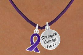 """<BR>              """"EXCLUSIVELY OURS""""<bR>          AN ALLAN ROBIN DESIGN<Br>              LEAD & NICKEL FREE!!<Br>  W13652N - PURPLE AWARENESS<Br>  RIBBON & """"STRENGTH COURAGE<Br>       FAITH"""" CIRCLE ON A PURPLE<Br>SUEDE NECKLACE AS LOW AS $4.15"""