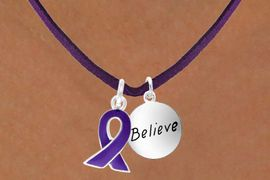 """<BR>              """"EXCLUSIVELY OURS""""<bR>          AN ALLAN ROBIN DESIGN<Br>             LEAD & NICKEL FREE!!<Br> W13654N - PURPLE AWARENESS<Br>RIBBON & """"BELIEVE"""" CIRCLE ON A<Br>         PURPLE SUEDE NECKLACE<Br>                  AS LOW AS $4.15"""