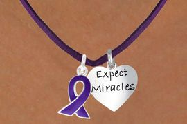 """<BR>             """"EXCLUSIVELY OURS""""<bR>         AN ALLAN ROBIN DESIGN<Br>            LEAD & NICKEL FREE!!<Br>W13656N - PURPLE AWARENESS<Br>  RIBBON & """"EXPECT MIRACLES""""<Br> ON A PURPLE SUEDE NECKLACE<Br>                 AS LOW AS $4.15"""