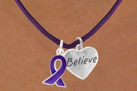 """<BR>            """"EXCLUSIVELY OURS""""<bR>        AN ALLAN ROBIN DESIGN<Br>           LEAD & NICKEL FREE!!<Br>W13657N - PURPLE AWARENESS<Br> RIBBON & """"BELIEVE"""" HEART ON<Br>     A PURPLE SUEDE NECKLACE<Br>                AS LOW AS $4.15"""