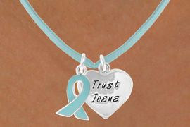 """<BR>              """"EXCLUSIVELY OURS""""<bR>          AN ALLAN ROBIN DESIGN<Br>            LEAD & NICKEL FREE!!<Br>    W13658N - TEAL AWARENESS<Br>RIBBON & """"TRUST JESUS"""" HEART<Br>     ON A TEAL SUEDE NECKLACE<Br>                 AS LOW AS $4.15"""