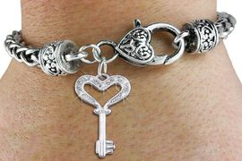 "<bR>                   EXCLUSIVELY OURS!!<BR>             AN ALLAN ROBIN DESIGN!!<BR>                 LEAD & NICKEL FREE!!<BR>W1365SB - DETAILED ""KEY TO MY HEART"" <BR>AUSTIAN CLEAR CRYSTAL CHARM  <BR>    ON HEART LOBSTER CLASP BRACELET <Br>         FROM $5.63 TO $12.50 �2012"