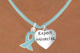 """<BR>              """"EXCLUSIVELY OURS""""<bR>          AN ALLAN ROBIN DESIGN<Br>             LEAD & NICKEL FREE!!<Br>    W13664N - TEAL AWARENESS<Br>   RIBBON & """"EXPECT MIRACLES""""<Br>HEART ON TEAL SUEDE NECKLACE<Br>                   AS LOW AS $4.15"""