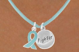 """<BR>              """"EXCLUSIVELY OURS""""<bR>          AN ALLAN ROBIN DESIGN<Br>         LEAD & NICKEL FREE!!<Br>W13666N - TEAL AWARENESS<Br> RIBBON & """"FIGHTER"""" HEART<Br> ON A TEAL SUEDE NECKLACE<Br>              AS LOW AS $4.15"""