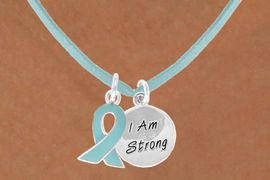 """<BR>              """"EXCLUSIVELY OURS""""<bR>          AN ALLAN ROBIN DESIGN<Br>            LEAD & NICKEL FREE!!<Br>    W13667N - TEAL AWARENESS<Br>RIBBON & """"I AM STRONG"""" CIRCLE<Br>     ON A TEAL SUEDE NECKLACE<Br>                 AS LOW AS $4.15"""