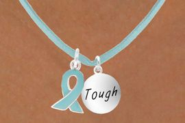 """<BR>        """"EXCLUSIVELY OURS""""<bR>    AN ALLAN ROBIN DESIGN<Br>         LEAD & NICKEL FREE!!<Br>W13668N - TEAL AWARENESS<Br>  RIBBON & """"TOUGH"""" CIRCLE<Br>  ON A TEAL SUEDE NECKLACE<Br>              AS LOW AS $4.15"""