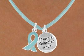 """<BR>          """"EXCLUSIVELY OURS""""<bR>      AN ALLAN ROBIN DESIGN<Br>          LEAD & NICKEL FREE!!<Br> W13669N - TEAL AWARENESS<Br>RIBBON & """"GUARDIAN ANGEL""""<Br>   ON A TEAL SUEDE NECKLACE<BR>               AS LOW AS $4.15"""